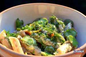 Makaron z bobem w sosie śmietanowo – koperkowym